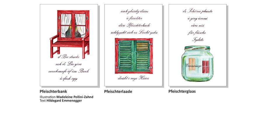 Sensler Karten: Pfeischterbank, Pfeischterlaade, Pfeischterglaas